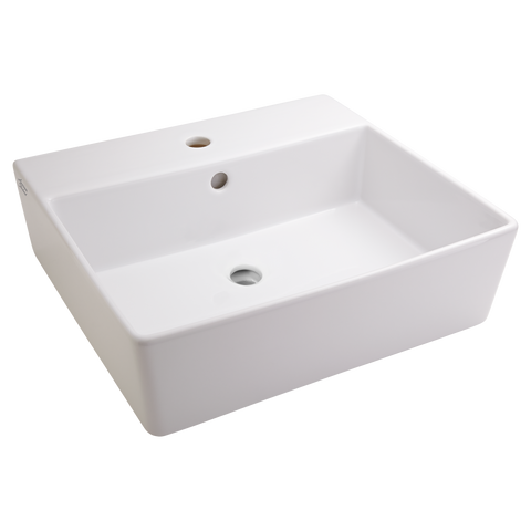 American Standard Loft Above Counter Sink With Faucet Hole And Overflow,  Fireclay, White,