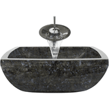 "Polaris 15 3/4"" Butterfly Blue Granite Square Bathroom Vessel Sink P764"