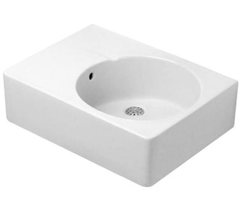 "Duravit Scola Washbasin 24-1/4"" with Overflow, with 1 Tap Punched Hole for faucet (Bowl on right side), 068560"