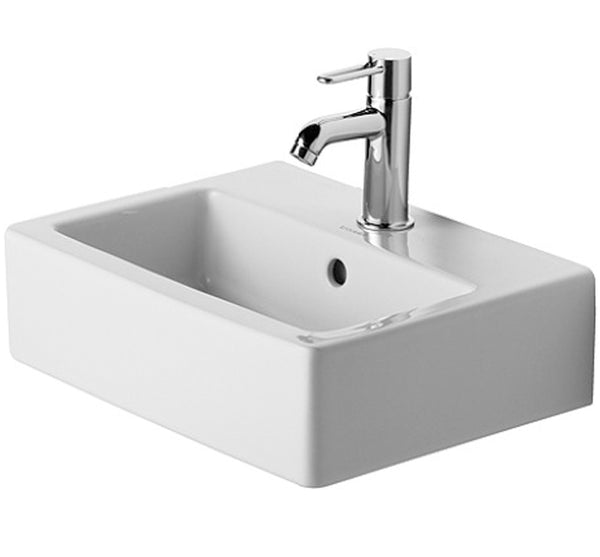 "Vero Series Furniture Washbasin 17-3/4"" with Overflow and 1 Tap Punched Hole for faucet use, Wall Mounted Bathroom Sink, Duravit, 070445"
