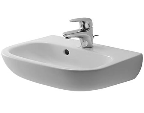 "D-Code Handrinse basin 17-3/4"" with Overflow, with faucet deck, Wall-mounted Bathroom Sinks, Duravit, 070545"