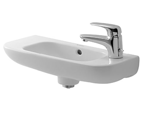 "D-Code Handrinse basin 19-5/8"" with Overflow, with faucet deck, Wall-mounted Bathroom Sinks, Duravit, 070650"