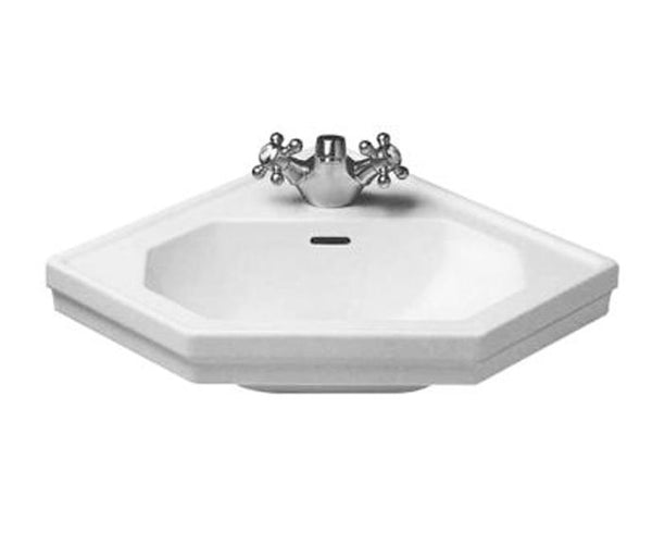 "1930 Series Washbasin Corner 23-3/8"" with Overflow and 1 Tap Punched Hole for faucet, Wall-mounted Bathroom Vessel Sink, Duravit, 079342"