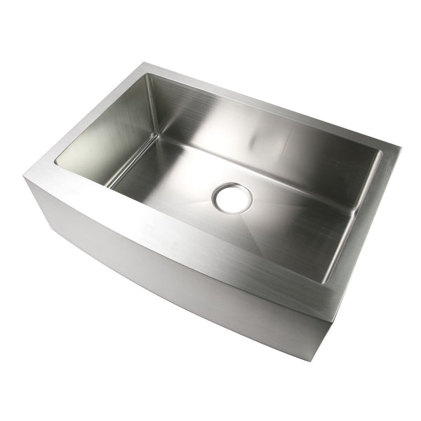 "Luxier 30"" Farmhouse Apron Single Bowl Stainless Steel Handmade Kitchen Sink R15 A001-R"