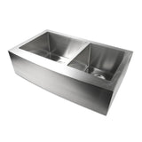 "Luxier 33"" Farmhouse Apron 60/40 Offset Double Bowl Stainless Steel Handmade Kitchen Sink R15 A002-R"