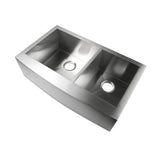 "Luxier 33"" Farmhouse Apron 60/40 Offset Double Bowl Stainless Steel Handmade Kitchen Sink Zero Radius A002-Z"