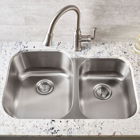 American Standard Portsmouth 31x20 Offset Double Bowl Stainless Steel Kitchen Sink, 18CR.9322100S.075 - Showroom Sinks