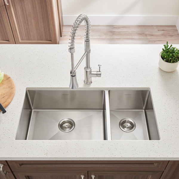 American Standard Pekoe 35x18 Offset Double Bowl Stainless Steel Kitchen Sink, 18CR.9351800.075 - Showroom Sinks