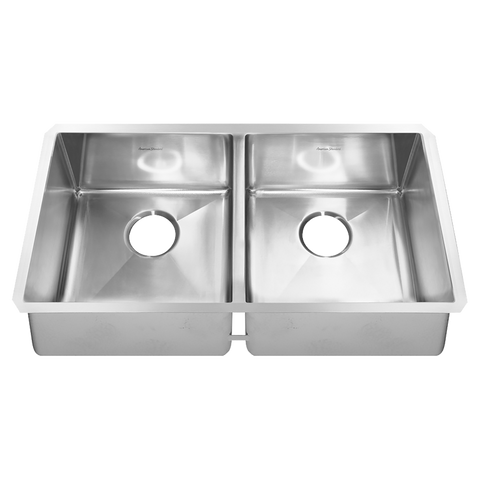 American Standard Pekoe 35x18 Double Bowl Stainless Steel Kitchen Sink with Drains and Bottom Grid