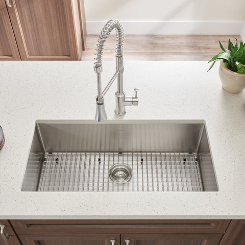 American Standard Pekoe 35x18 Stainless Steel Kitchen Sink with Drain and Bottom Grid, 18SB.10351800.075