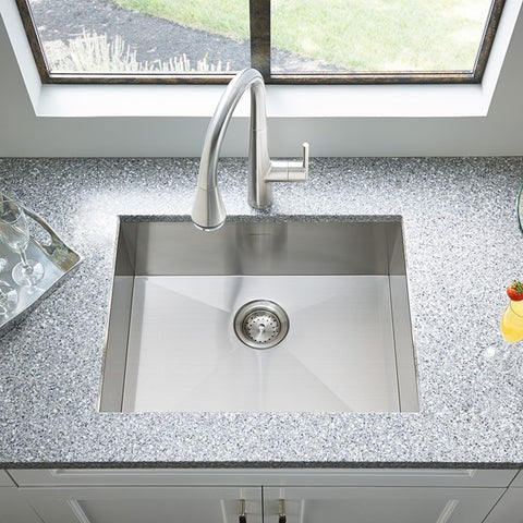 American Standard Edgewater 25x22 Stainless Steel Kitchen Sink with Drain, 18SB.9252211.075