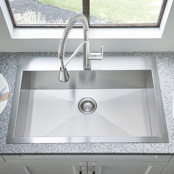 American Standard Edgewater 33x22 Dual Mount, Stainless Steel Kitchen Sink, 18SB.9332211.075