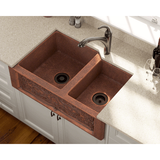 "Polaris 33"" Offset Double Bowl Copper Farmhouse Sink P124"
