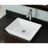 "Polaris 19 5/8"" Porcelain Rectangular Bathroom Vessel Sink - White P073VW"