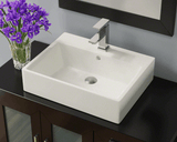 "Porcelain Vessel Sink, 21"", Rectangular, Polaris, P2052"