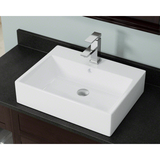 "Polaris 21"" Porcelain Rectangular Bathroom Vessel Sink - White P2052VW"