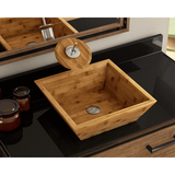 "Bamboo Vessel Sink, 16 1/8"", Square, Polaris, P198 - Showroom Sinks"