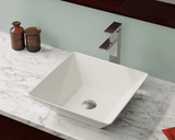 "Porcelain Vessel Sink, 15 3/4"", Square, Polaris, P071"