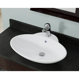 "Polaris 24 5/8"" Porcelain Oval Bathroom Vessel Sink - White P062VW"