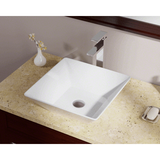 "Polaris 15 3/4"" Porcelain Square Bathroom Vessel Sink - White P071VW"