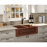 "Polaris 33"" Offset Double Bowl Copper Farmhouse Sink P125"