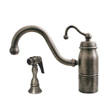 Whitehaus Curved Stick Beluga Kitchen Faucet with Side Spray - Brushed Nickel 3-3165-SPR-C