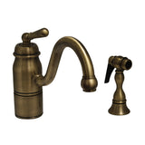 Whitehaus Deck Mount Single Handle Faucet With Side Spray - Antique Brass 3-3165-SPR-L-AB