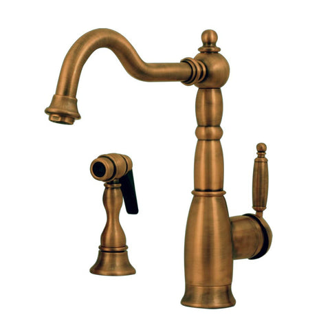 Whitehaus Deck Mount Curved Kitchen Faucet with Pull Side Spray - Antique Brass 3-3185-AB