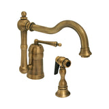 Whitehaus Deck Mount Curved Kitchen Faucet with Pull Side Spray - Antique Brass 3-3190-AB
