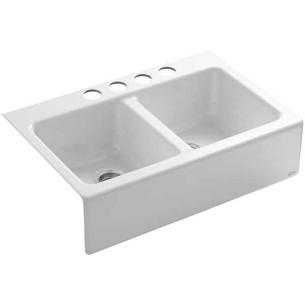 "Kohler Hawthorne 33"" apron-front under-mount double-equal kitchen sink with 4 oversize faucet holes - White K-6534-4U-0"