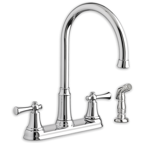 "American Standard Portsmouth 2-Handle High-Arc, 14-7/8"" Kitchen Faucet with Side Spray, 4285.551 - Showroom Sinks"