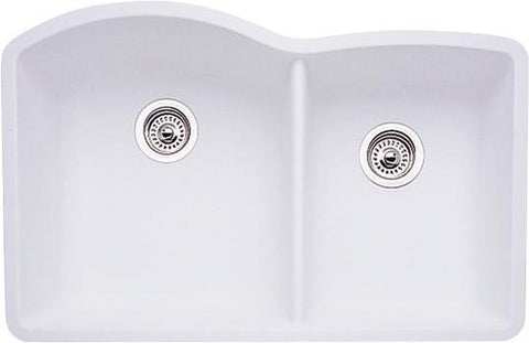 "Blanco Diamond 32"", Undermount Granite Composite Kitchen Sink, Double Bowl, Silgranit PuraDur - Showroom Sinks"