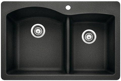 "Blanco Diamond 33"", Undermount or Drop-In Granite Composite Kitchen Sink, 1-3/4 Bowl, Silgranit PuraDur - Showroom Sinks"