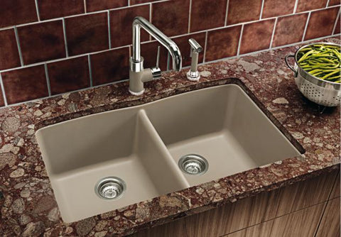 "Blanco Diamond 32"", Undermount Equal Double Bowl Granite composite sink in SILGRANIT PuraDur - Showroom Sinks"
