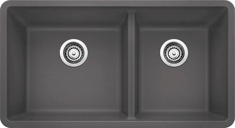 "Blanco Precis 33"" Undermount Granite Composite Kitchen Sink, 1-3/4 Bowl, Silgranit PuraDur - Showroom Sinks"