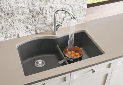 "Blanco Diamond 32"", Low-Divide Undermount Granite composite sink, 1-3/4 Bowl, Silgranit PuraDur"