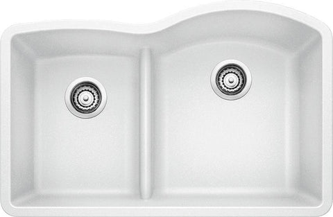 "Blanco Diamond 32"", Undermount Granite Composite Kitchen Sink, 1-3/4 Bowl Reverse with Low-Divide, Silgranit PuraDur - Showroom Sinks"