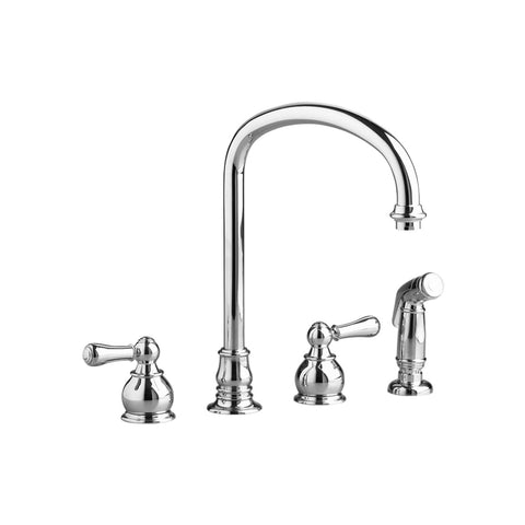 "American Standard Hampton 13"" 2-Handle High-Arc Kitchen Faucet with Separate Side Spray, 4751.732 - Showroom Sinks"