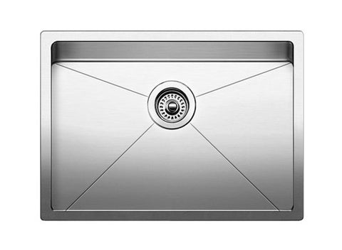 "Blanco Quatrus R15 25"" Undermount, Single Bowl Stainless Steel Sink, 519547"