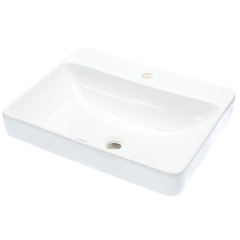 "Kohler Vox 23"" Rectangle Vessel Bathroom Sink with Single Faucet Hole - White K-2660-1-0"