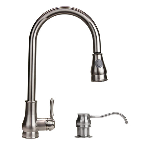 "Dyconn Coral 18"" Modern Pull-Down Kitchen Faucet - Brushed Nickel TB001-A17BN"
