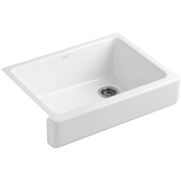 "Kohler Whitehaven Self-Trimming 30"" under-mount single-bowl kitchen sink with short apron - White K-6486-0"
