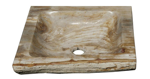 "Bathroom Vessel Sink, 15"" Petrified Wood, Allstone Group, PEWD-#7-2 - Showroom Sinks"