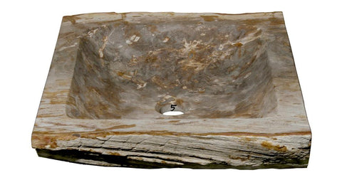 "Bathroom Vessel Sink, 16"" Petrified Wood, Allstone Group, PEWD-#7-5 - Showroom Sinks"
