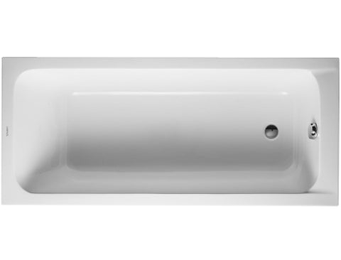 D-Code Rectangular Acrylic Drop-In Bathtub with one Backrest Slope, Outlet in the foot area, Duravit, 700096