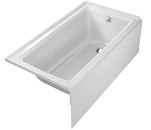 "D-Code Series Bathtub 15-3/4"" with One Backrest Slope, Drain Outlet in Foot Area, Drop-in Acrylic Bathtubs, Duravit, 700100"