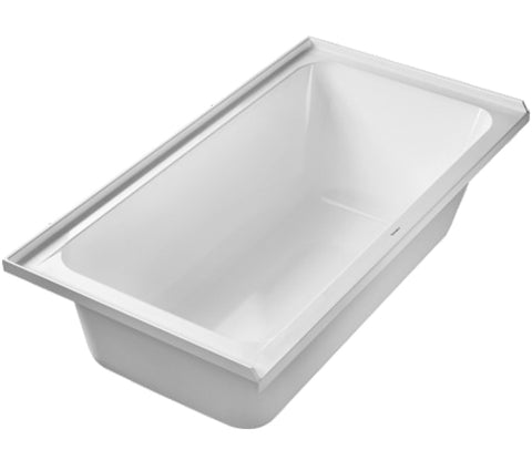 D-Code Drop-In Rectangle Bathtub with Integrated Tile Flange, Left Drain placement, Duravit, 700406