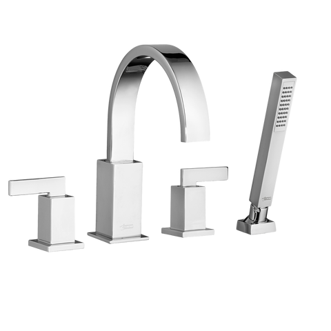 American Standard Times Square Deck- Mount Bathtub Faucet with Personal Shower, 7184.900 - Showroom Sinks