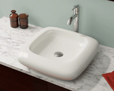 "Porcelain Vessel Sink, 20 1/8"", Square, Polaris, P001"