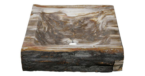 "Bathroom Vessel Sink, 15.5"" Petrified Wood, Allstone Group, PEWD-#9-2 - Showroom Sinks"